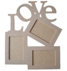 Porta Retrato Painel Love para 3 fotos - Medida: 35,5cmX42,5cmX9mm  -Para 3Fotos de 10cmX15cm
