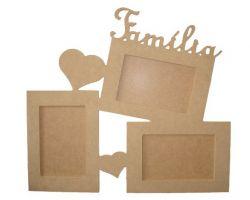 Painel de fotos Família  Medida: 35,5cmX39cmX9mm  -Para 3Fotos de 10cmX15cm