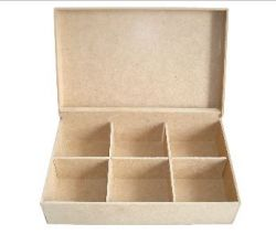 Caixa Chá Parafuso 6 Divisórias em MDF - 24cmx16cmx7cm -  3mm