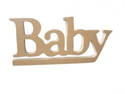 Palavra Decorativa Baby Em Mdf Cru - 27cmx12cmx15mm