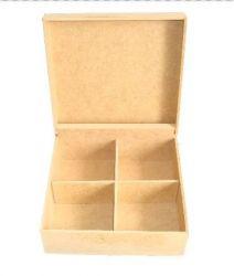 Caixa Chá Parafuso 4 Divisórias em MDF - 16cmx16cmx7cm